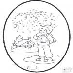 Coloriages hiver - Dessin à piquer - hiver 1