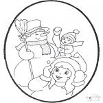 Bricolage cartes de piquer - Dessin à piquer - hiver