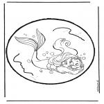 Bricolage cartes de piquer - Dessin à piquer - La petite sirène 1