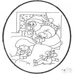 Bricolage cartes de piquer - Dessin à piquer - Père Noël