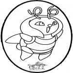 Bricolage cartes de piquer - Dessin à piquer Pokémon 1