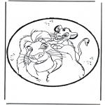 Bricolage cartes de piquer - Dessin à piquer - Roi Lion