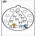 Coloriages Noël - Dessin à piquer - Sapin de Noël 1