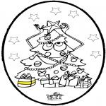 Coloriages Noël - Dessin à piquer - Sapin de Noël 3