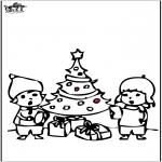 Coloriages Noël - Dessin à piquer - Sapin de Noël 4