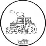 Bricolage cartes de piquer - Dessin à piquer tracteur
