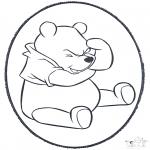 Bricolage cartes de piquer - Dessin à piquer - Winnie l'Ourson 1