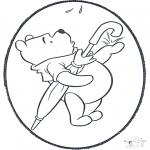 Bricolage cartes de piquer - Dessin à piquer - Winnie l'Ourson 2
