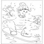 Coloriages hiver - Dessine en suivant les numéros ' surf