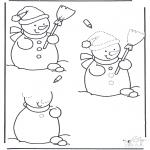 Bricolage coloriages - Dessine ton bonhomme de neige