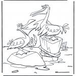 Coloriages d'animaux - Deux pélicans