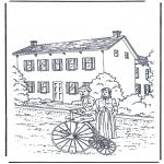 Coloriages faits divers - Devant la maison