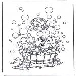 Personnages de bande dessinée - Diddl dans la baignoire