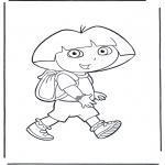 Coloriages pour enfants - Dora avec sac à dos