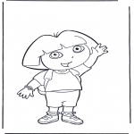 Coloriages pour enfants - Dora salue