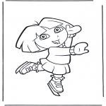 Coloriages pour enfants - Dora sur patins