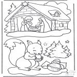 Coloriages Noël - écureuil et crèche de Noël