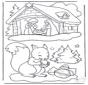 écureuil et crèche de Noël