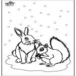 Coloriages hiver - écureuil et lapin