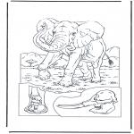 Coloriages d'animaux - Eléphant 1