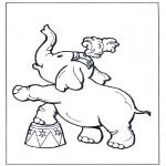 Coloriages d'animaux - Eléphant au cirque