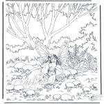 Coloriages faits divers - Elfes au bois