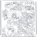 Coloriages faits divers - Elfes sur des fleurs