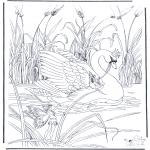 Coloriages faits divers - Elfes sur le cygne