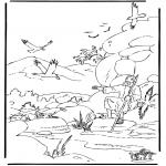 Coloriages Bible - Elie et les corbeaux
