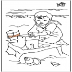 Coloriages pour enfants - Enfant à la mer