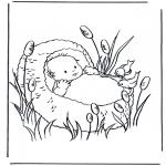 Coloriage thème - Enfant dans la corbeille