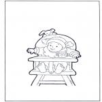 Coloriages pour enfants - Enfant en chaise haute