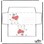 Coloriage thème - Enveloppe - Saint-Valentin 2