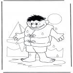 Coloriages pour enfants - Ernie avec d'eau