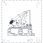 Coloriages pour enfants - Ernie sous la douche