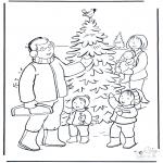 Coloriages Noël - Famille dans la neige