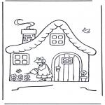 Coloriages faits divers - Femme à côté de la maison
