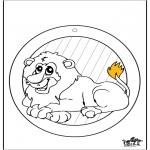 Bricolage coloriages - Fenêtre pendentif de lion