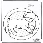 Bricolage coloriages - Fenêtre pendentif de mouton