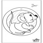 Bricolage coloriages - Fenêtre pendentif de souris