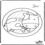 Bricolage coloriages - Fenêtre pendentif de Vache 2