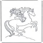Coloriages d'animaux - Fille à cheval 1