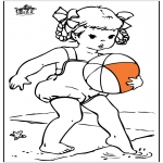 Coloriages faits divers - Fille à la plage