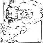 Coloriages pour enfants - Fille avec chien