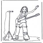 Coloriages faits divers - Fille avec guitare