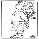 Coloriages pour enfants - Fille avec les fleurs