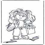 Coloriages pour enfants - Fille avec portable