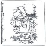 Coloriages faits divers - Fille avec poupée