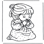 Coloriages Bible - Fille en prière