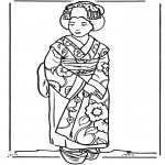 Coloriages faits divers - Fille japonaise
